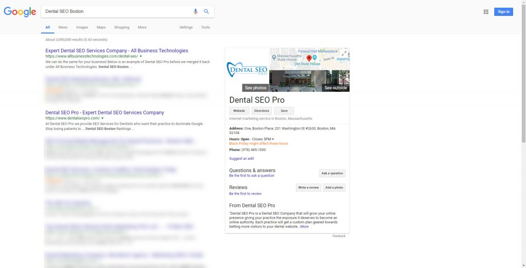 Dental SEO Boston Ranking